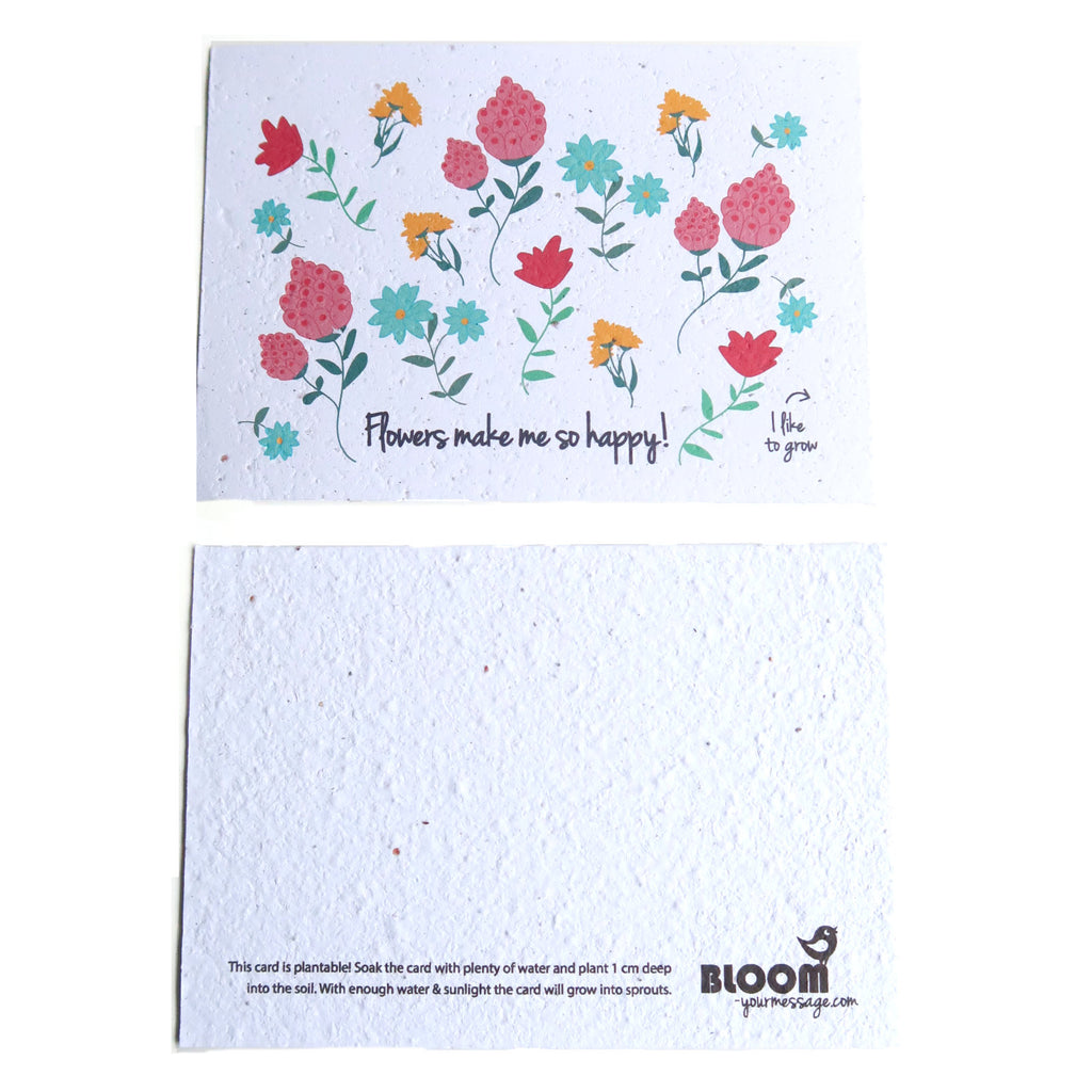 Flowers plantable card with instructions