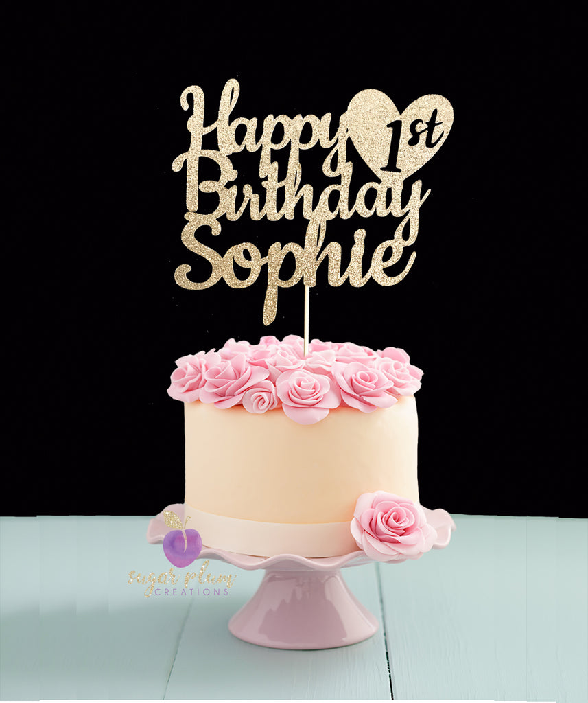 Superb Happy 1St Birthday Cake Topper Personalised Birthday Cards Arneslily Jamesorg
