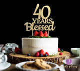 40 Years Blessed Cake Topper