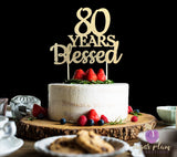 80 Years Blessed Cake Topper