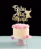 Personalized Baby Cake Topper with Elephant