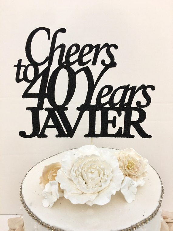 "Cheers To ""Age"" Years ""Name"" Cake Topper"