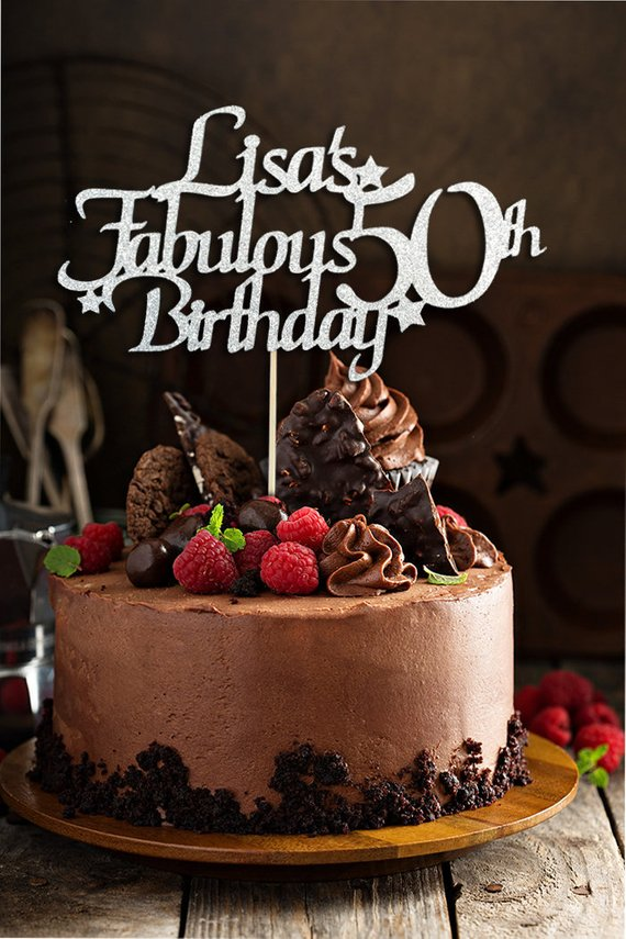 Superb Fabulous 50Th Birthday Cake Topper Personalised Birthday Cards Veneteletsinfo