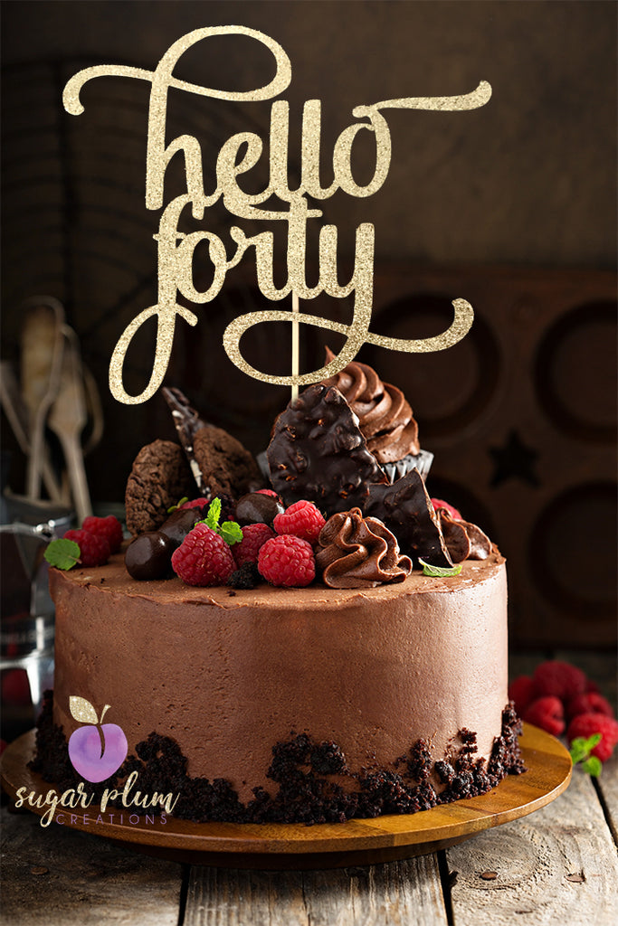 Hello Forty (curly) Cake Topper