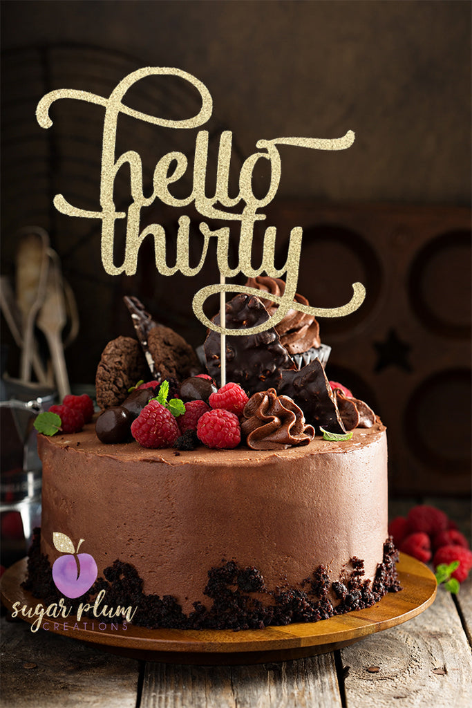 hello thirty (curly) Cake Topper
