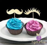 Staches or Lashes Cupcake Topper