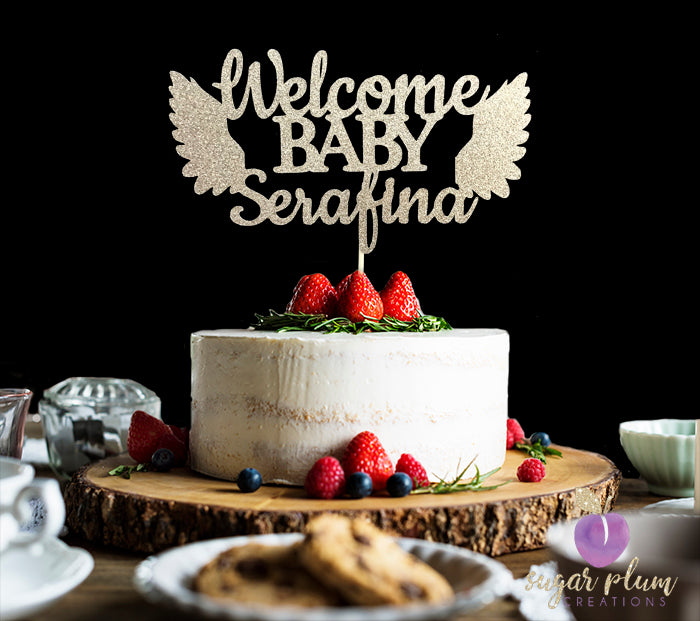 Welcome Baby Cake Topper with Angel Wings