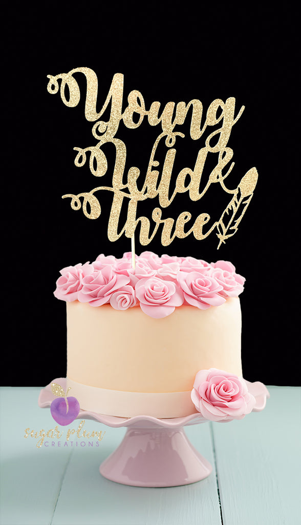 Young Wild and Three (with feather) Cake Topper
