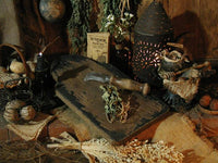 Antique Tombstone Breadboard in Paint with Dried Carrots Old Chestnut Knife and Herb Booklet