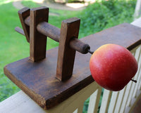 Rare Early Wooden Apple Peeler Table Version with Accessories