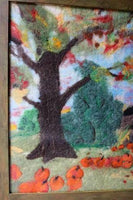 Autumn Tennessee Appalachia Cabin Wool Felted Painting with Grain Painted Frame