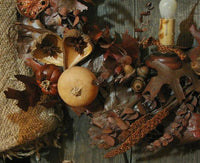 Primitive Country Autumn Wreath Lit Beautiful