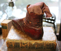 Childs Victorian Button Up Red Leather Shoes
