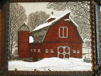 Antique Tramp Art Frame with Country Primitive Barn Picture Winter Scene Fabulous