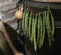 Old Primitive Barrel Gourds String Bean Garland Stoneware Milk Bowl Albany Slip