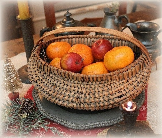 Antique Splint Melon Basket Special Oval Form