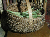 Antique Primitive Woven Splint Buttocks Egg Gathering Basket