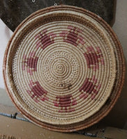 Unusual Antique Lidded Raffia Basket with Indian Flavor