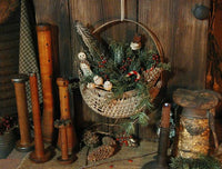 Antique Wall Half Basket Christmas Greens Snowman with Feather Tree