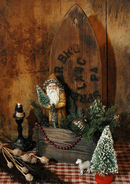 Primitive Christmas Old Pelt Stretcher Marked Sprenger Brewing Co Lancaster PA Box with Santa