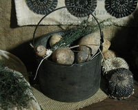 Primitive Rabbit Artisan Made Antique Tin Berry Bucket Pail with Gourd Eggs and Prairie Grass