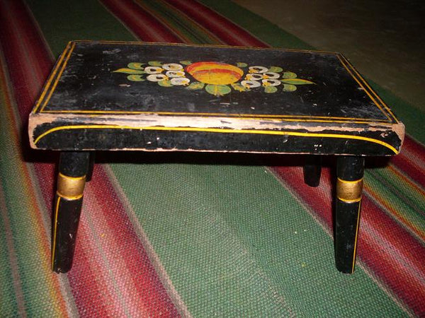 Stenciled Footstool Vintage Folk Art