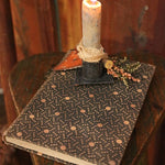 Early Calico Cloth Covered Book Circa 1893 with Candleholder