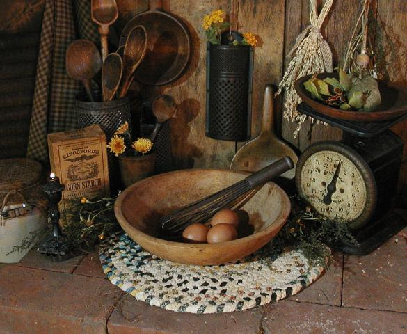 Old Bowl Wire Whisk Braided Rug and Eggs Farmhouse Gathering