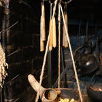 Primitive Wooden Hanging Bowl from Balance Scale with Gourd Spoon