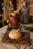 Antique Breadboard Cutting Board with Realistic Bread and Knife Gathering