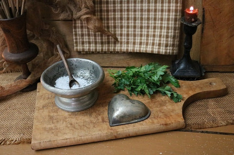 Birds Eye Maple Breadboard Pewter Salt Cellar and Tin Heart