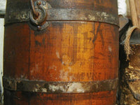 Antique bucket Barrel Staved Stenciled Spiced Figs Bittersweet Hue Fabulous