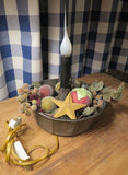 Primitive Tin Bundt Pan with Light and Holiday Decorations