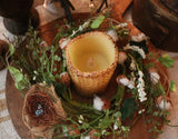 Candle Ring Lit Honeycomb Candle Primitive Spring Gathering