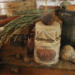 Primitive Autumn Fall Soy Jar Candle with Early Style Match Holder and Folk Art Pumpkin Cute