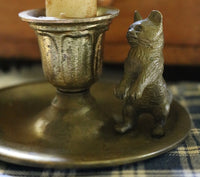 Old Candleholder Brass Cat with Homespun Candle Mat