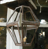 Antique Early Lighting Unusual Folding Tin Hanging Candle Lantern Mining or Travel