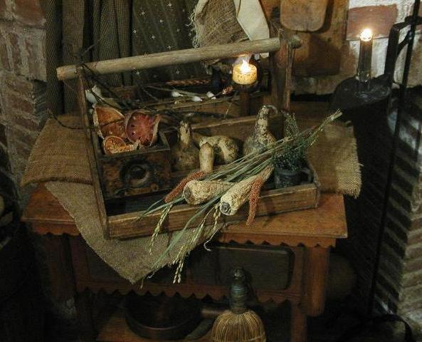 Primitive Old Carrier with Early Spice Drawer Tea Light Decked Out for Autumn