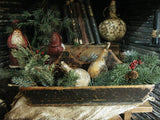 Primitive Antique Divided Carrier with Christmas Greens Chalkware Belsnickle