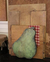Antique Breadboard Apple Green Paint with 2 Fabric Apples