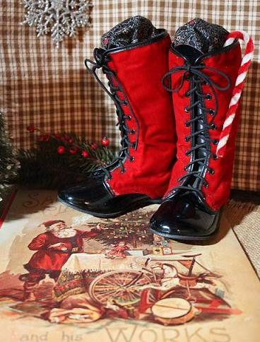 Childs Red Velvet Boots and Christmas Santa Book Gathering