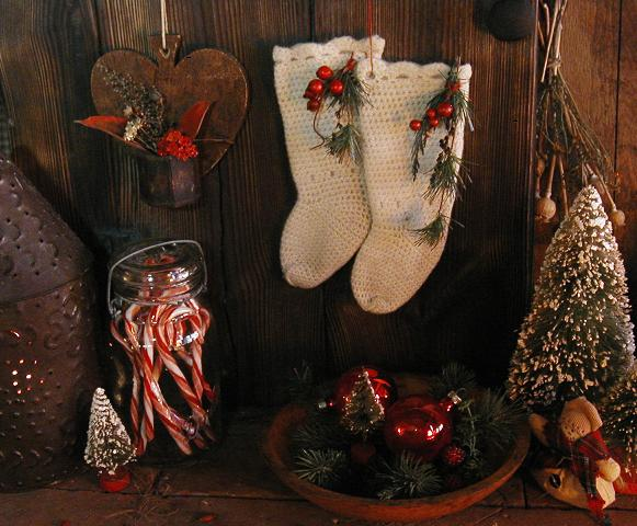 Child's Handknit Crochet Stockings Christmas Flavor Sweet