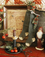 Child's Long Stockings Hand Knit Elephant Grey Primitive Christmas