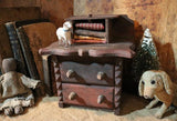 Tramp Art Folksy Childs Dresser with Putz Sheep Nice Detail
