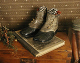 Victorian Button Up Baby Shoes and Old Modern Spelling Book with Bucolic Cover