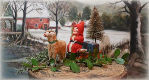 German Santa Putz Sheep Bottle Brush Tree Gathering Festive