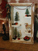 Primitive Christmas Shadow Box Putz Sheep Bottle Brush Trees Gathering Sweet