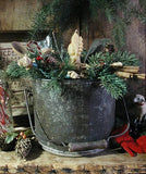 Early Tin Bucket with Santa Candle and Old Nutmeg Grater