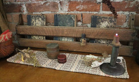 Old Church Pew Book Rack with 19th Century Books