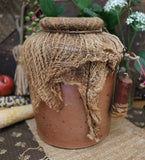 Stoneware Crock with Cheesecloth Cover and Hanging Candle